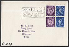 1965 Holiday booklet (Ordinary) 3d-1d se-tenant pane (1d on right) on plain FDC with Christchurch slogan. Printed address, ''F.D.C.'' in ink in bottom left corner.