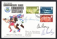 1970 Commonwealth Games FDC signed by Roger Bannister, Chris Chataway & Chris Brasher (4 minute mile). Typed address, fine