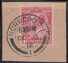 1912 (Oct 8th) 1d Royal Cypher on piece only with Norwood CDS. (Cat £1000 on FDC)