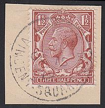 1912 (Oct 15th) Royal Cypher 1½d brown on piece only with Vincent Square SW CDS. (Cat £900 on FDCs)