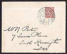 1912 (Oct 15th) 1½d Royal Cypher on plain cover with International Stamp Exhibition Royal Horticultural Hall SW special H/S dated Oct ____12. Probably First Day (15th) but with date missing from date slug. Neatly slit open at bottom. (Cat £900 as
