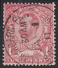 1911 1d red issued June 22nd stamp only with clear Jan (1st) 1911 Llanbadarn Fair CDS