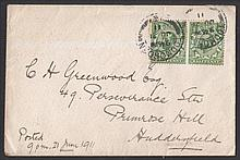 1911 ½d green pair on plain FDC with Todmorden CDS dated June 21st = day before issue. Flap on reverse damaged and some rust marks on reverse only but probably unique. Cat £750