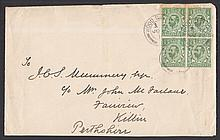 1911 ½d green block of 4 on plain FDC with Wood Green CDS. Neatly slit open at bottom, slight creasing. Cat £200