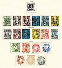 Saxony: 1851-1863 collection on printed album page incl. 1855-63 5ngr. F/U & 10 ngr cut close. (19)