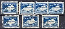 Cinderellas: 1924 Mount Everest Expedition blue labels x 7 unused. (7)