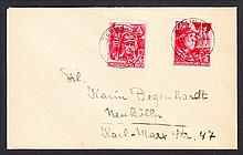 1945 12th Anniv of Third Reich pair on cover addressed locally with Berlin 21.4.45 cds on each. Cover folded not affecting stamps & hinge remainders on reverse. SG 897-898 Cat £180 as used but rare on cover.