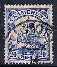 Cameroons: 1905-19 watermarked 20pf F/U with 1914 dated pmk. SG K23