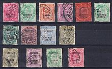 Chamba: Early used selection incl. 1903-05 3a, 8a, 12a, few Officials. Cat £130 (14)