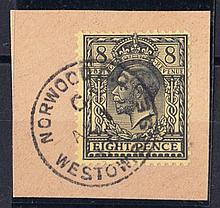 1913 (Aug 1st) 8d black on yellow on piece with Norwood CDS. Cat £2275