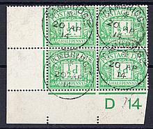 1914 Postage Due ½d green Cylinder D14 block of 4 off cover with Cambridge CDS on each stamp. (Cat £1875 on FDC)
