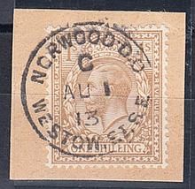 1913 (Aug 1st) 1/- bistre on piece with Norwood CDS. Cat £2275