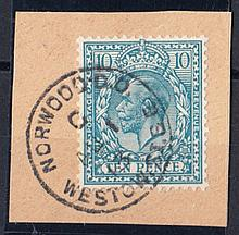 1913 (Aug 1st) 10d turquoise on piece with Norwood CDS. Cat £2275