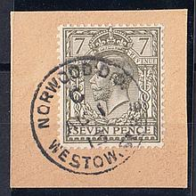 1913 (Aug 1st) 7d olive on piece with Norwood CDS. Cat £2275