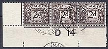 1914 Postage Dues ½d, 1d & 2d in matching Control D14 strips of 3 off cover, each with Manchester CDS dated 15th April = 5 days before issue. These are all rare on FDC. Probably unique.