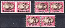 Bechuanaland, SWA & Swaziland 1945 Victory 1d horizontal pairs each showing unlisted ''barb wire'' var. on right hand stamp. SWA F/U, others mint, Bechuanaland thinned on normal stamp. (6)
