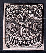 Bremen: 1856-63 type B 5gr. F/U, 4 margins, fine. SG 3a Cat £475