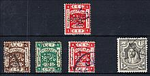 1922-23 overprints on Palestine, SG 40 o.g. & 98A, 99A (some staining on reverse), 101A used, also 1943-46 £1 SG 243 F/U. Cat £173 (5)