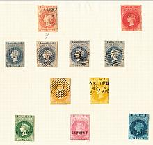 1856-58 Adelaide imperf 2d (2), 6d (4), 1/- (2), mostly good to fine used, also reprint 1d, 2d & 6d. Between SG 7-12 STC £1800+ (11)