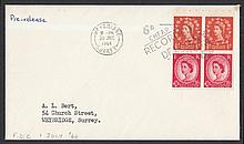 1964 Holiday booklet se-tenant pane on plain FDC with Weybridge Recorded Delivery slogan dated 30th June = day before issue. An unrecorded pre-release cover. Typed address, ''Pre-release'' handwritten in top left corner + handwriting on reverse of