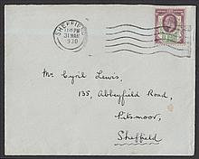 1930 Edward VII Last Day Cover: 1½d Somerset House (SG 287) on plain cover with Sheffield 31st March 1930 wavy line cancel. Edward VII stamps were invalidated for postage on 1st April 1930. Neatly slit open at top.