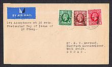 1934 (Nov 19th) First Day of 3d Air Mail Letter Rate to Sudan: Cover bearing ½d, 1d & 1½d photogravure cancelled with London F.S.Air Mail CDS (First Day of ½d photogravure). Typed address, fine.