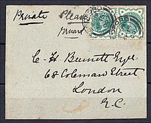 1900 ½d blue-green on front only with Bedford CDS dated April 15th = two days before April 17th issue date. (Cat £1800 on FDC)