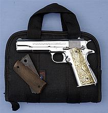 Nickel Colt Government Model Semi-Automatic Pistol