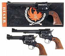 Three Ruger Single Action Revolvers -A) Ruger Old Model Super Blackhawk Revolver with Box