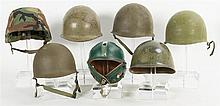 Grouping of Seven U.S Style Military Helmets