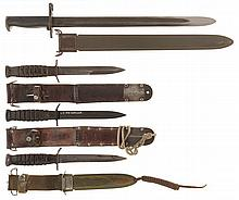 Grouping of U.S. Military Fighting Knives and One Bayonet