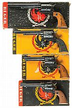 Four Ruger Single Action Revolvers with Boxes -A) Old Model Ruger Super Blackhawk Revolver