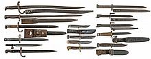 Grouping of Fifteen U.S and European Style Military Bayonets and Knives
