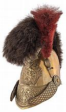 Victorian Era French Firefighter's Helmet with Crest and Plume