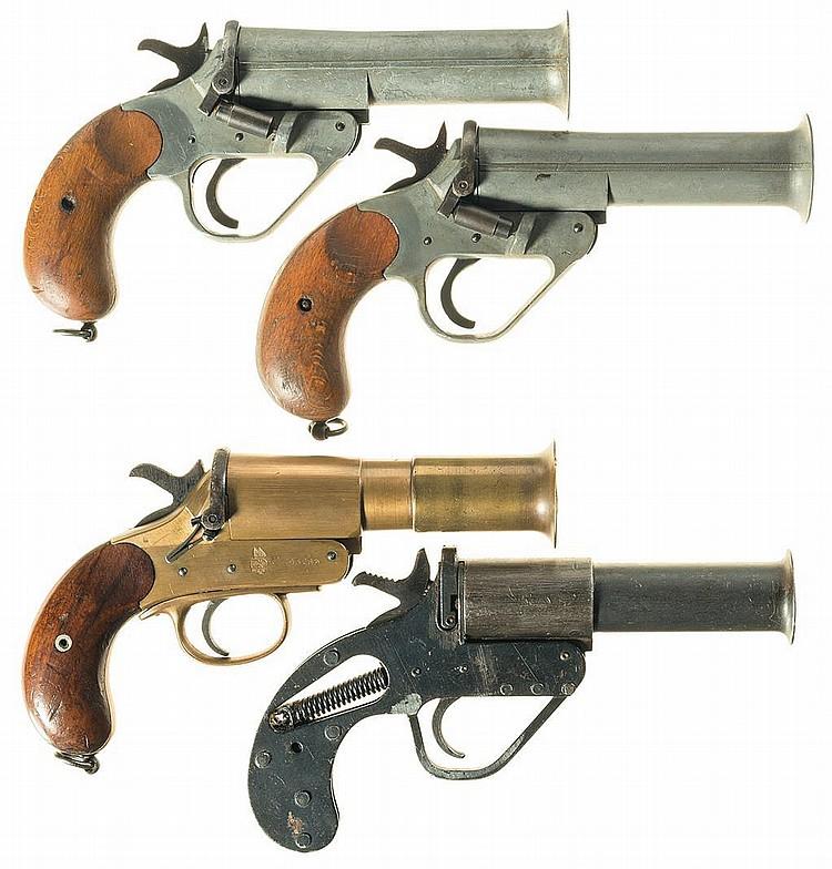 Four European Flare Guns -A) British Proofed Flare Pistol