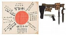 U.S. Ithaca Model 1911AI Semi-Automatic Pistol with Rig, Extra Magazines, Knife and Sheath, and Signed Japanese Flag