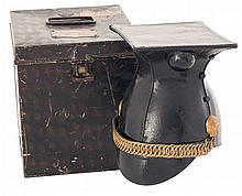17th Lancers Foul Weather Cap with Storage Tin Attributed to Lt. Colonel Edward Darley Miller