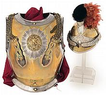 Fine French Cuirass Dated 1865 and Bearing the Arsenal Marks of the Second French Empire with Helmet