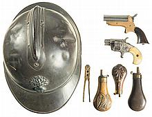 Two Antique Handguns with Three Powder Flasks, Bullet Mold and French Helmet -A) C. Sharps Four Barrel Pepperbox Pistol