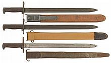 Three U.S. Marked Bayonets with Sheaths and Belt Hangers