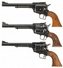 Three Ruger Single Action Revolvers -A) Ruger Old Model Super Blackhawk Revolver