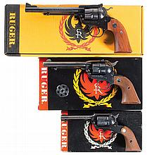 Three Ruger Single Action Revolvers with Boxes -A) Ruger New Model Single Six 32 Magnum Revolver