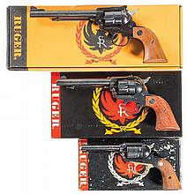 Three Ruger Single Action Revolvers with Boxes -A) Ruger New Model Super Single Six Revolver