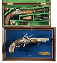 Two Engraved Commemorative Muzzle Loading Pistols -A) Herr Frederick Hebsacker Hege-Siber Gold Medal Match Target Percussion Pistol with Case