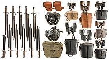 Large Grouping of Military Items Mostly Binoculars and Bayonets
