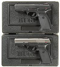 Two Ruger Model SR9 Semi-Automatic Pistols with Matching Numbered Cases and Accessories -A) Ruger Model SR9 Pistol