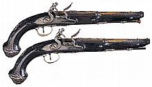 A Magnificent Pair of Silver Mounted, Chiseled, and Gold Decorated Eastern Market Flintlock Pistols by Jean-Baptiste Lamotte of St. Etienne -A) Lamotte Pistol