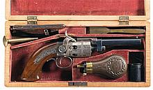 Exceptional Maple Cased Factory Engraved and Inscribed Massachusetts Arms Co. Wesson & Leavitt Belt Revolver