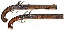 Two Contemporary T. Hobbs Kentucky Style Flintlock Pistols with Silver Inlaid Relief Carved Stocks -A) T. Hobbs Pistol with Barnett Marked Lock