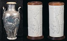 Three Chinese Vases in Silver and Porcelain